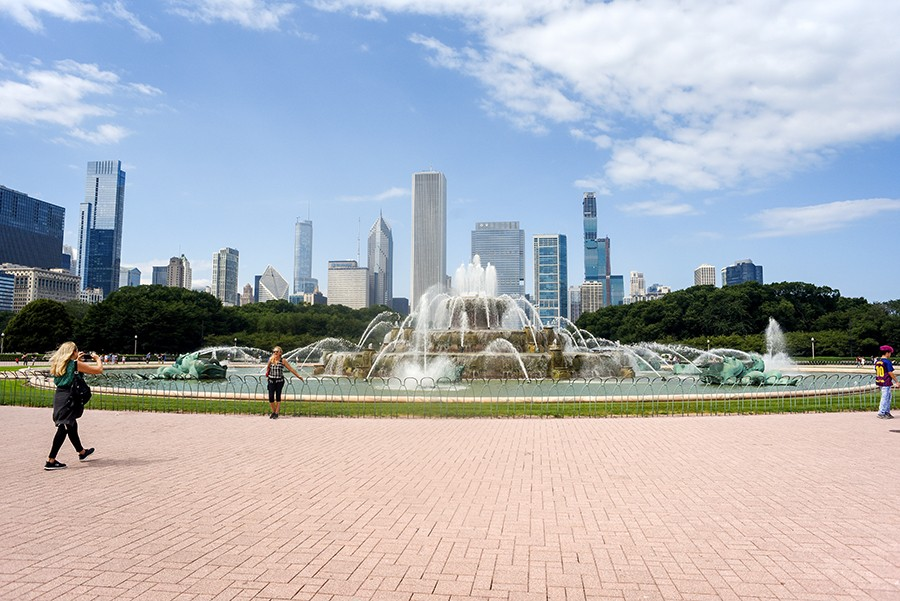 August 13, 2019:  People pose at Buckingham Fountain on a recent Tuesday. - KATHLEEN HINKEL