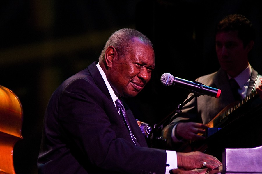 """Freddy Cole plays the Pritzker Pavilion Tribute to Nat """"King"""" Cole with Lionel Cole, joined by guitarist Sam Raderman, bassist Elias Bailey, and drummer Jay Sawyer, on Thursday at 7:45PM. - ALLEN LYONS"""