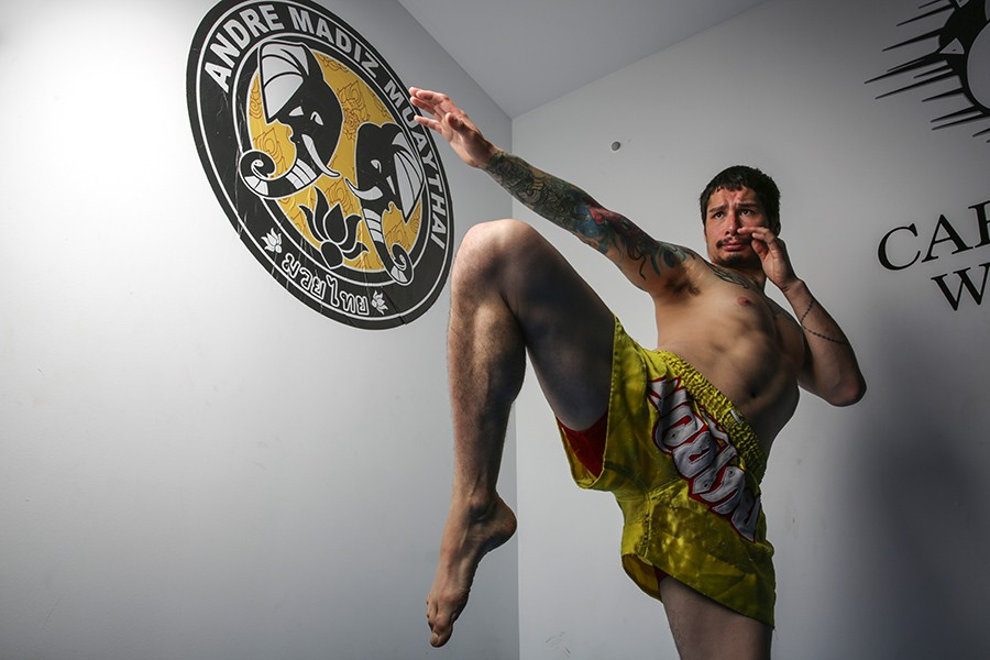 "Arthur Pike, 28, Andre Madiz Muay Thai -  - ""People definitely have cliched ideas, 'Oh, well they're just meatheads.' I think definitely that's one thing I represent—I'm not what people imagine as a conventional fighter. Everyone has different sides to themselves; you can be aggressive in the ring, but that doesn't mean you're an aggressive person. This is just a healthy way to express that side. I always say afterwards I want to give my opponent a big hug. It's all love because they taught me so much about myself, by pushing me."" - GEOFF STELLFOX"