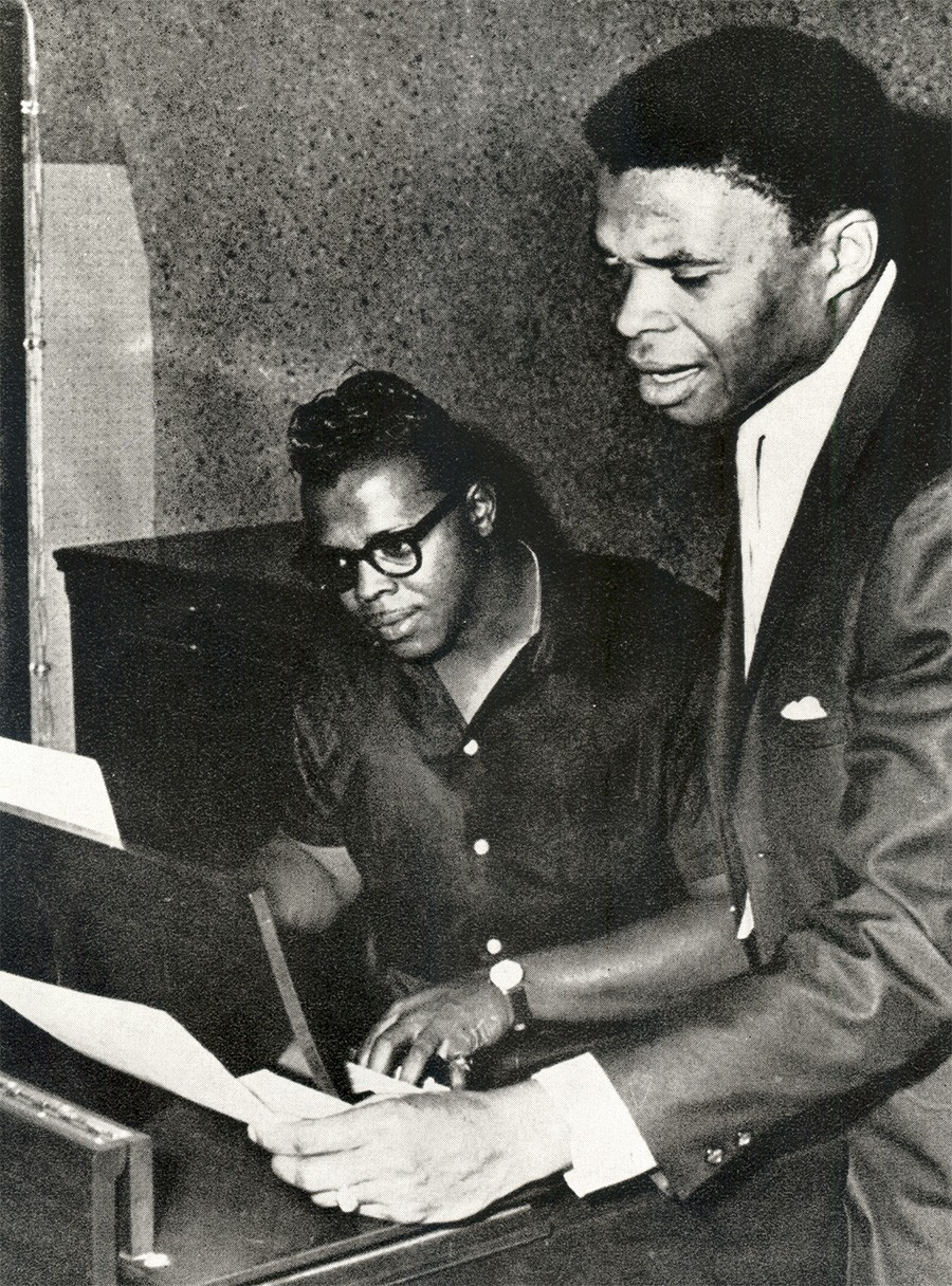 Chicago soul artists Harold Burrage (left) and Otis Clay at One-derful Records in the mid-1960s. Both men recorded for the label, though Burrage appeared on its M-Pac! imprint. - COURTESY SECRET STASH RECORDS / FROM THE COLLECTION OF ROBERT PRUTER