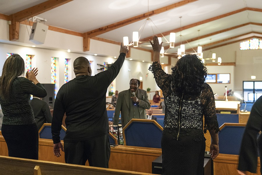 Reverend Mack McCollum leads Sunday service on December 1, 2019, at New Home Missionary Baptist Church. A song he recorded with New Home's choir in the 1970s appears on No Other Love. - MELISSA BLACKMON FOR CHICAGO READER