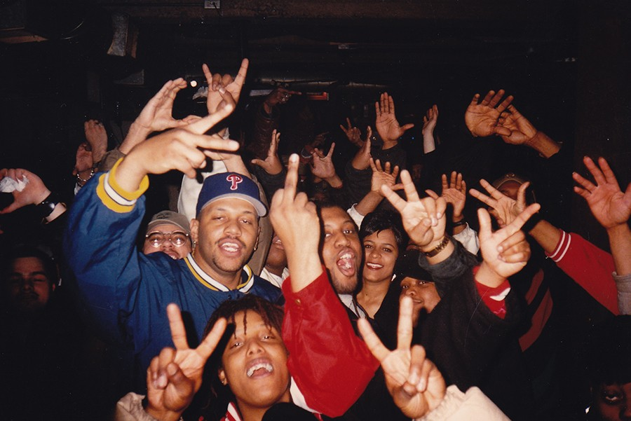 """The Blue Groove Lounge crowd at Elbo Room in the late 1990s. The woman at center right is poet and singer Tina Howell, currently of the band Bumpus (and a former Reader employee). - """"BIG LARRY"""" MONDRAGON"""