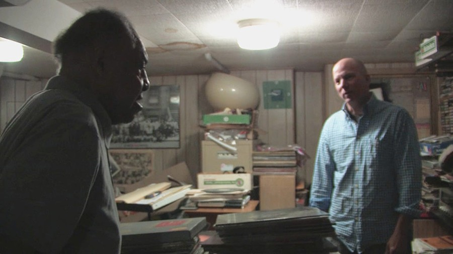 A still from the documentary: Dusty Groove owner Rick Wojcik (right) with jazz saxophonist and pharmacist Grady Johnson in Johnson's basement - DANIELLE BEVERLY