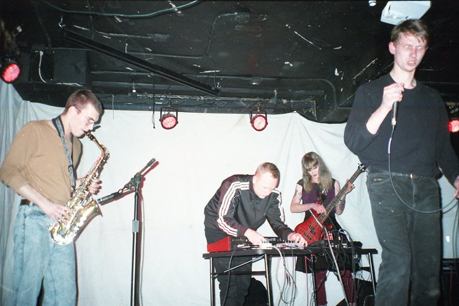 Blake Karlson (second from left) performs with Civic Center, whose lineup also includes musicians who record solo as Hen of the Woods and Understudy. - COURTESY CHICAGO RESEARCH