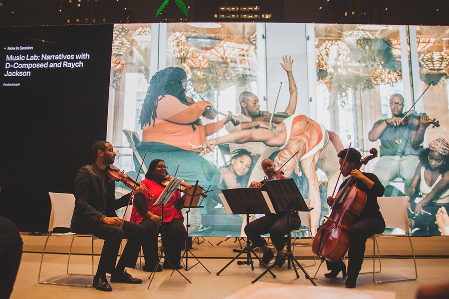 D-Composed at its inaugural D-Composition event, held last month at the Michigan Avenue Apple Store: violinists Kyle Dickson and Caitlin Edwards, violist Danielle Taylor, and cellist Kelsee Vandervall subbing for Tahirah Whittington - ALLY ALMORE