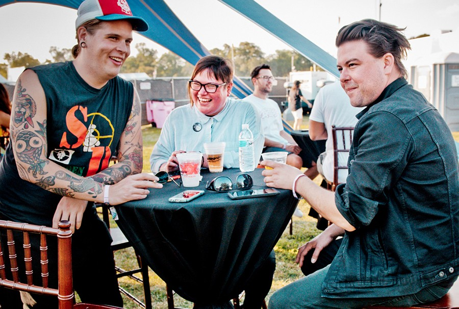 Christen Thomas at Riot Fest 2017 with Metro social media director Brett Crawford (left) and Bloodiest guitarist Tony Lazzara, who's also head engineer at the Burlington and co-owns Versus Guitars and Audio - ALISON GREEN