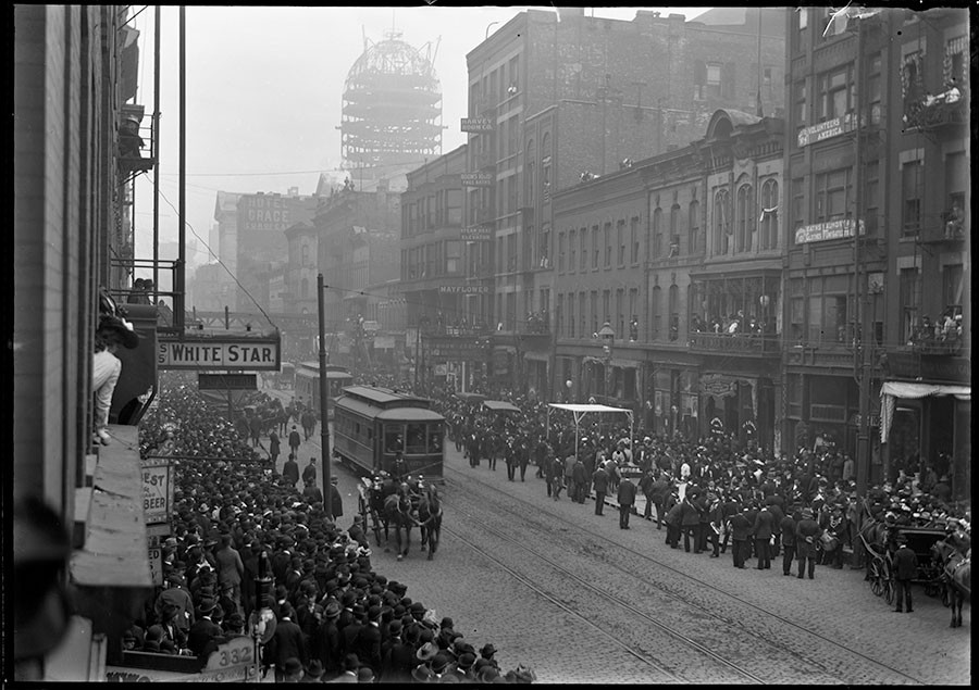 """Funeral procession for Sam Moy, """"King of Chinatown,"""" in May 1902 - RUDOLPH F. MICHAELIS / COURTESY NEWBERRY LIBRARY"""