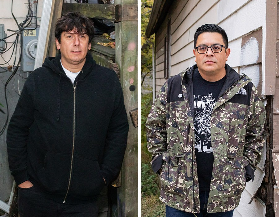 Chris Cabay, aka Chris Huevos (left), and Benny Hernandez played together in No Slogan and ran Southkore Records out of Rancho Huevos. Hernandez never lived in the house, but Cabay was the second tenant during its DIY years. - ERIC STROM FOR CHICAGO READER
