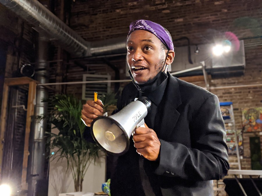 Tukes plays vibes or bells and also conducts, sings, leads chants, and keeps spirits high with his dance moves. - RAVEN GEARY FOR CHICAGO READER