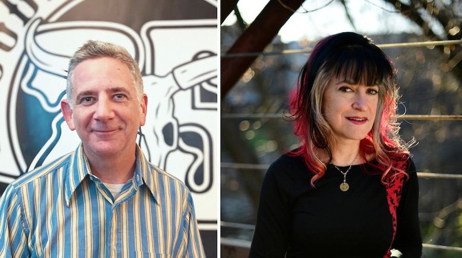 """Rob Miller (left) and Nan Warshaw helped found Bloodshot Records in 1993, but since 2019 they've been going through what Warshaw calls a """"business divorce""""—and it hasn't been an amicable one. - COURTESY BLOODSHOT RECORDS (MILLER); PAUL BEATY (WARSHAW)"""