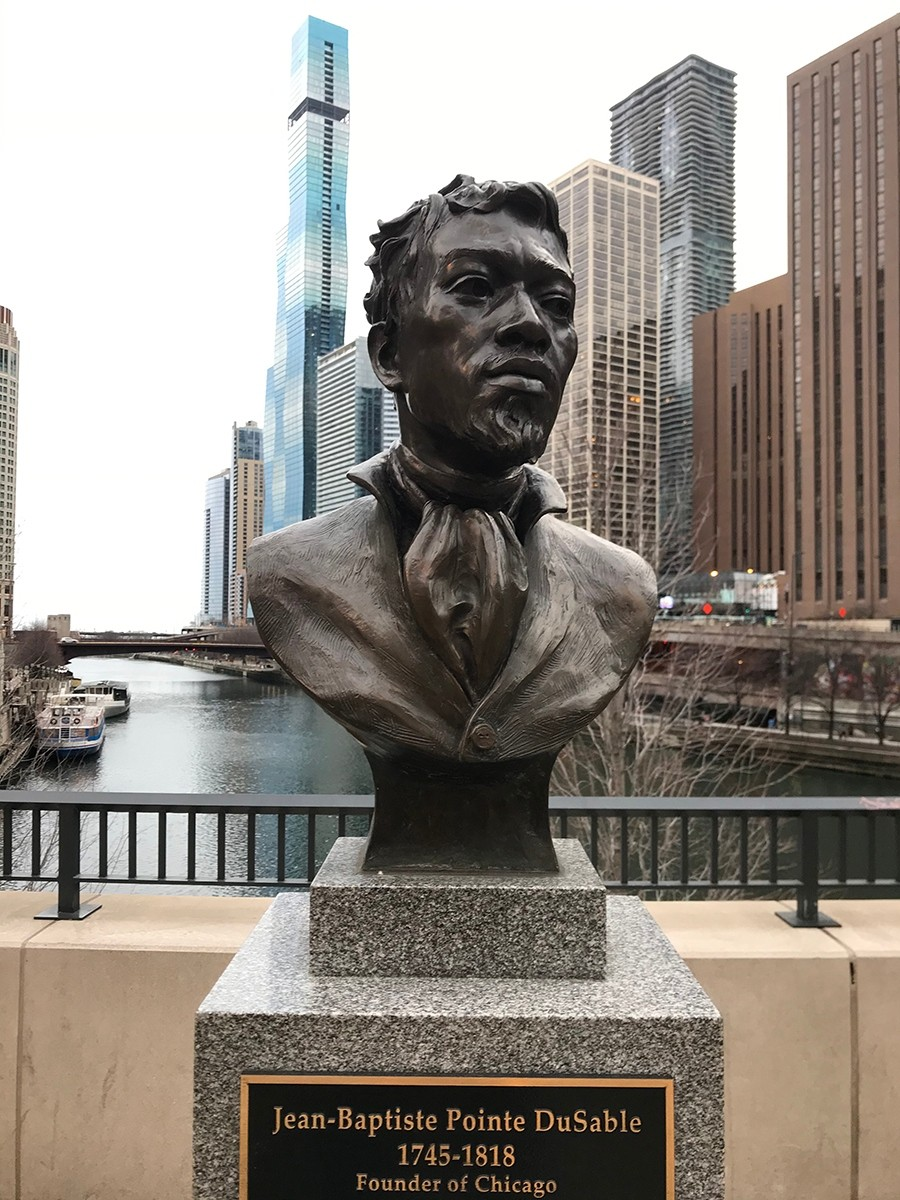 The bust of DuSable by the Michigan Avenue bridge - JOHN GREENFIELD