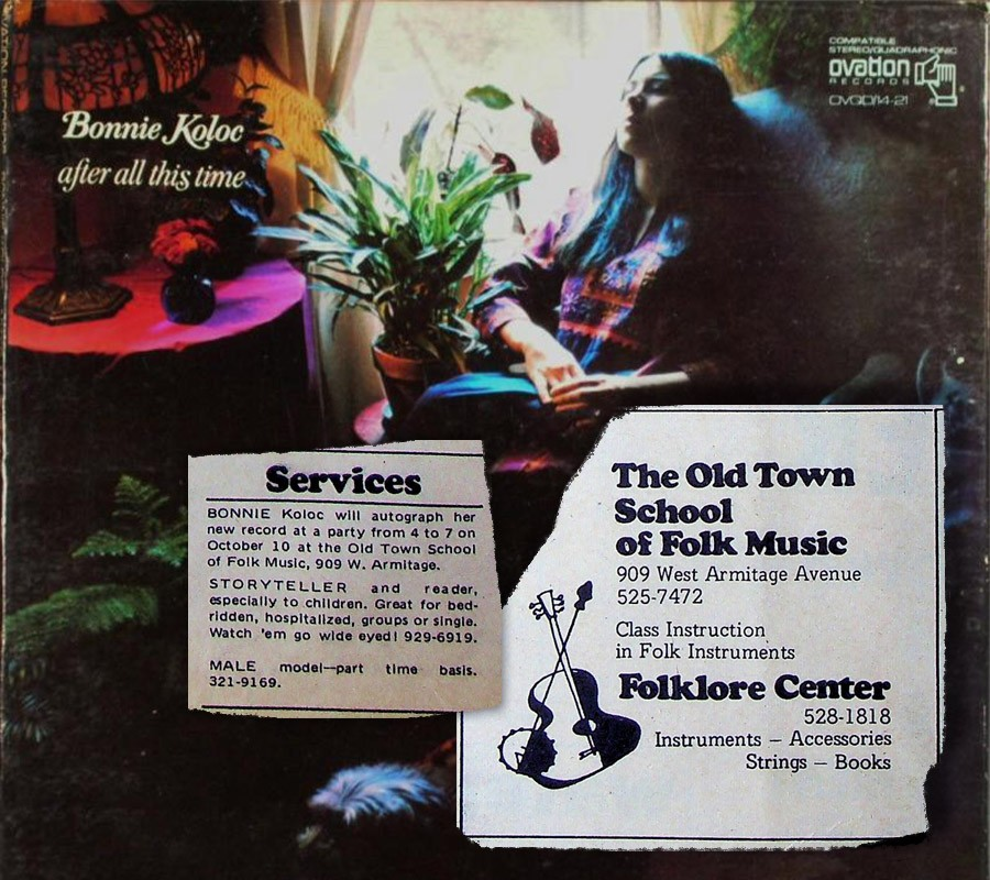 The cover of Bonnie Koloc's 1971 debut album, After All This Time, with ads from the very first issue of the Reader—which came out not long before the record did. - COLLAGE BY AMBER HUFF