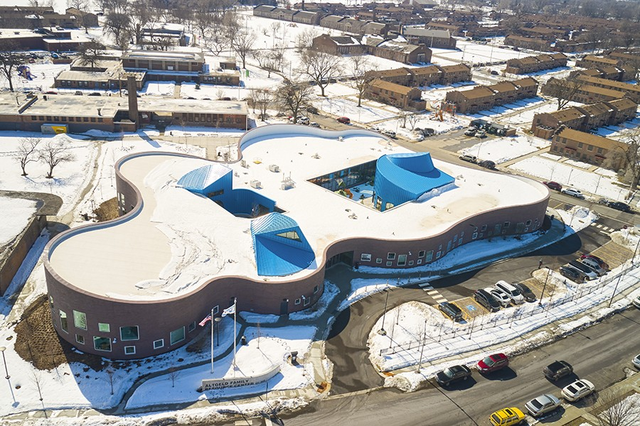An aerial view of the new Altgeld Family Resource Center just outside the Altgeld Gardens public housing units - COURTESY KOO/MIKE SCHWARTZ