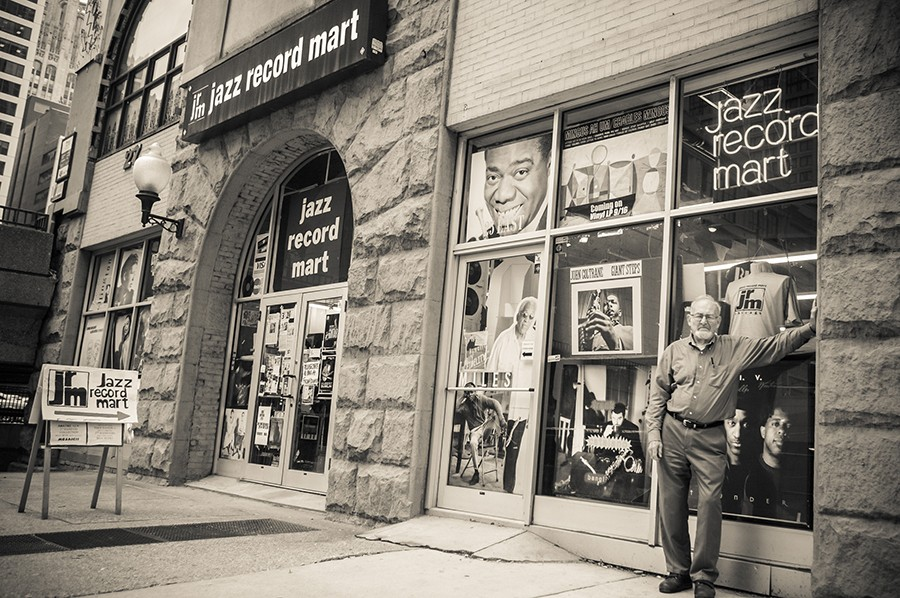 Bob Koester outside the Jazz Record Mart's final location, at 27 E. Illinois, in 2009 - MICHAEL JACKSON