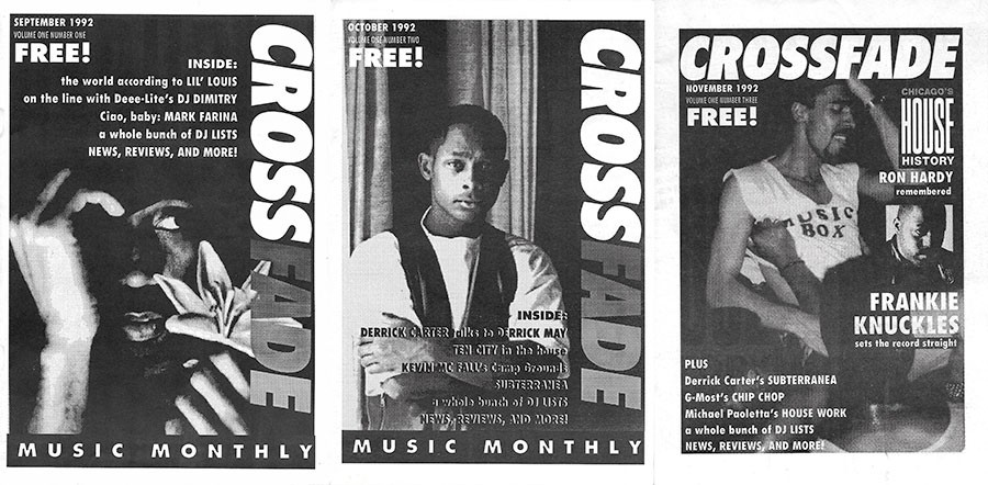 The covers of all three issues of Crossfade, from September through November 1992 - COURTESY TERRY MARTIN