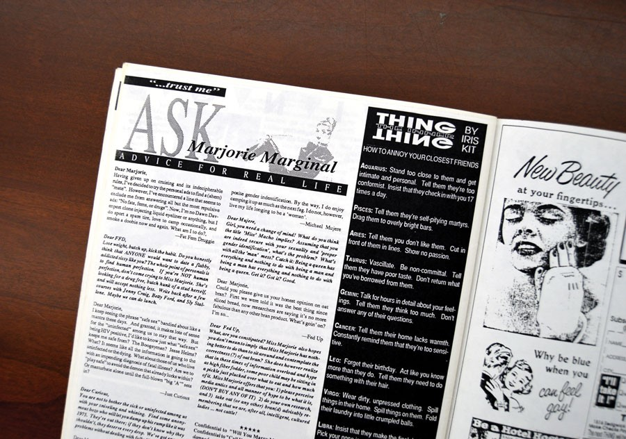 The Thing debut of the Marjorie Marginal advice column, from issue two in April 1990 - AMBER HUFF