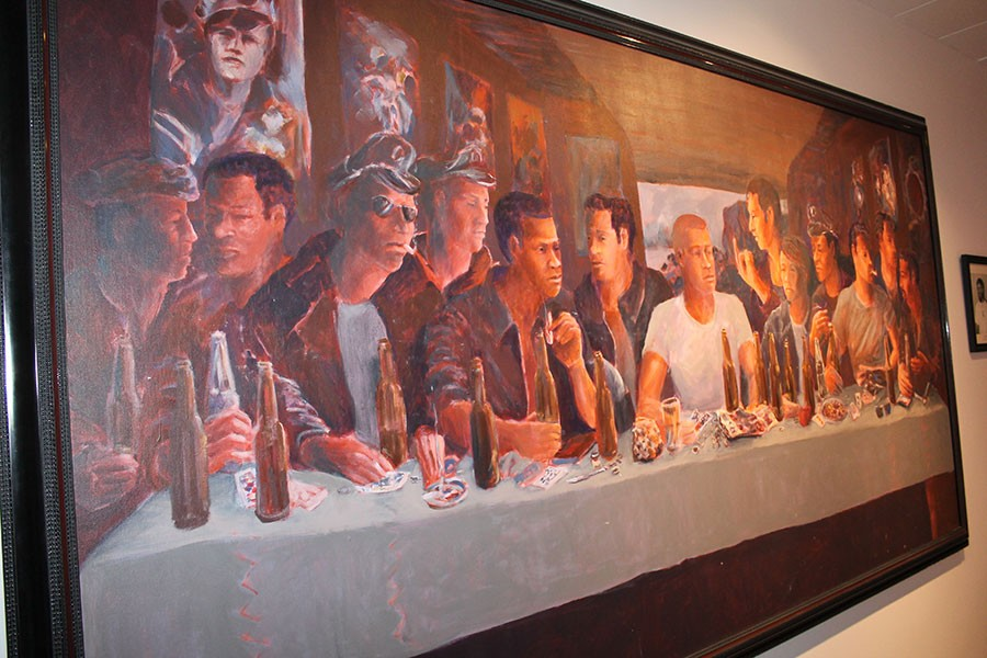 The Last Supper In A Gay Leather Bar With Judas Giving Christ The Finger by Steven Brown - ADAM M. RHODES
