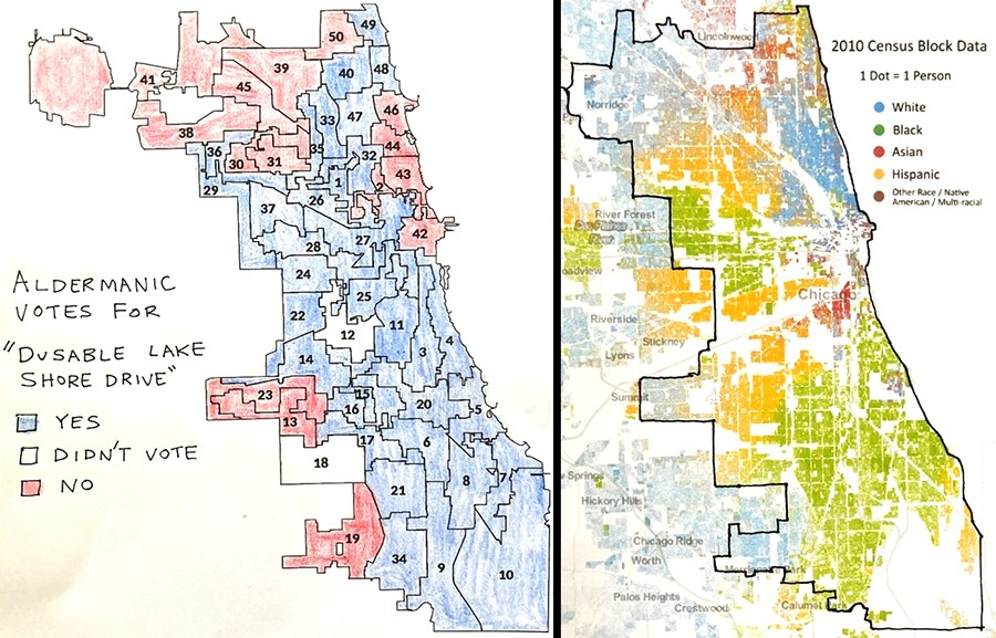 """How aldermen voted on """"DuSable Lake Shore Drive"""" (left) and Chicago racial demographics (2010 data) from the Racial Dot Map (right.) Each dot on the map represents one person. Blue = white, green = Black, red = Asian, and orange = Hispanic - JOHN GREENFIELD; DUSTIN A. CABLE, WELDON CENTER FOR PUBLIC SERVICE, RECTOR AND VISITORS OF THE UNIVERSITY OF VIRGINIA, IMAGE COPYRIGHT 2013"""