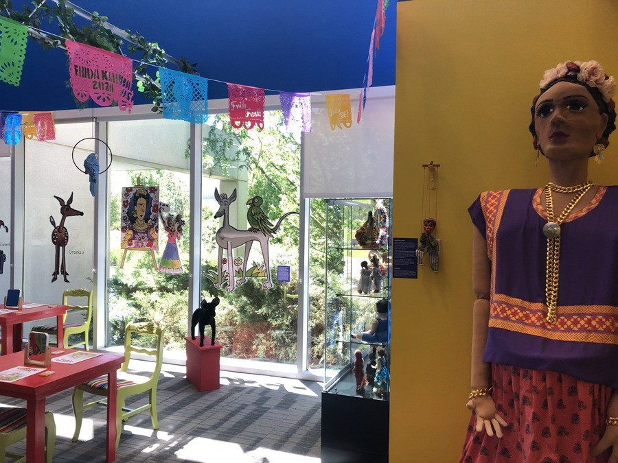 """A view of the Kahlo Kids' Korner that accompanies the """"Frida Kahlo: Timeless"""" exhibition. - KT HAWBAKER"""