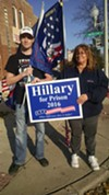 Dave Krupa and Edna Bice in front of a polling place in Clearing