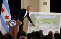 Obama downplays traffic concerns and pledges $2 million donation at Presidential Center presser