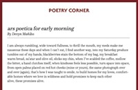 <i>ars poetica for early morning</i>