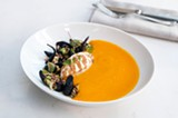 The vivid carrot soup is a silky emulsion providing one of the best spoonfuls on the menu. - ANDREA BAUER