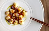 Bay scallops with catmint blossoms, XO sauce, and soy-onion puree with citron - ALISHA SOMMER