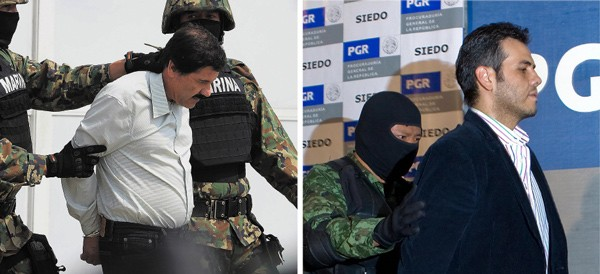 Veteran DEA agent Jack Riley says the captures of Sinaloa cartel leader Chapo Guzmán (left) and top deputy Jesus Vicente Zambada-Niebla (right) offer an opportunity to weaken drug trafficking networks, but police don't believe it will make a difference on the streets of Chicago. - ALFREDO ESTRELLA/AFP/GETTY IMAGES; LUIS ACOSTA/AFP/GETTY IMAGES