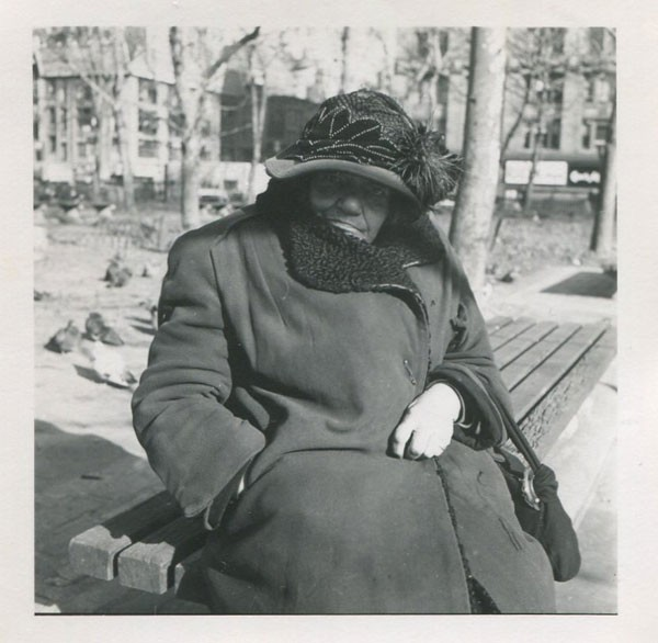 Vivian Maier's Untitled (Woman in coat and hat on bench), another of the exhibit's photos from the collection of Ron Slattery - COURTESY RON SLATTERY