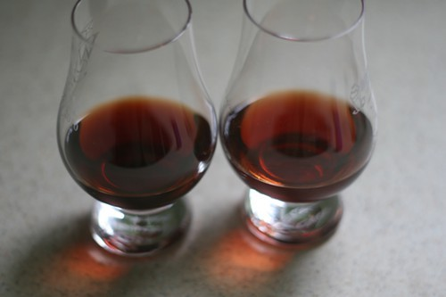 Vodka base on the left, rum on the right--theyre pretty much identical in color