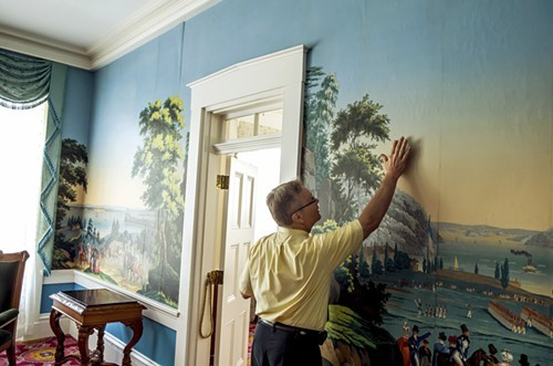 Wallpaper is buckling in the governors mansion, a spokesperson for Governor Pat Quinn showed earlier this month. Thats because of a leaky roof, which also has caused the basement to flood. Quinn recently authorized patching the roof.