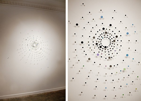 Web (For There Is an Intimacy Here That Includes You), more than 200 tiny mirrors connected by metallic thread, is based on studies of spiders' building habits. - COURTESY THE ARTIST