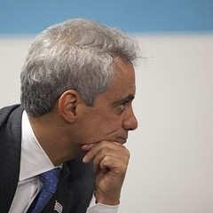What is Mayor Emanuel pondering? Maybe it's what more he can eliminate from the CPS.