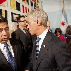 What's that Mayor Rahm's whispering to Alderman Solis? Could it be something about how to get the South Loop deal through the zoning committee?