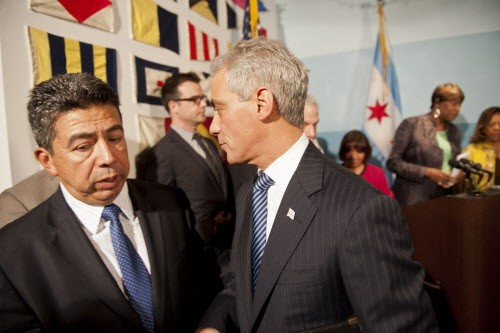 Whats that Mayor Rahms whispering to Alderman Solis? Could it be something about how to get the South Loop deal through the zoning committee?