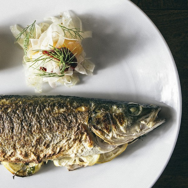 Whole roasted branzino needs nothing but a shaved-fennel salad to showcase its beauty and deliciousness.