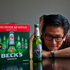 Willy Chyr with Beck's Limited Edition beer