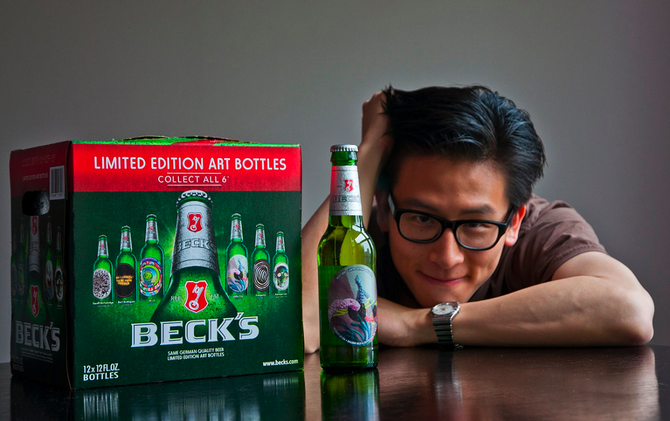 Willy Chyr with Becks Limited Edition beer