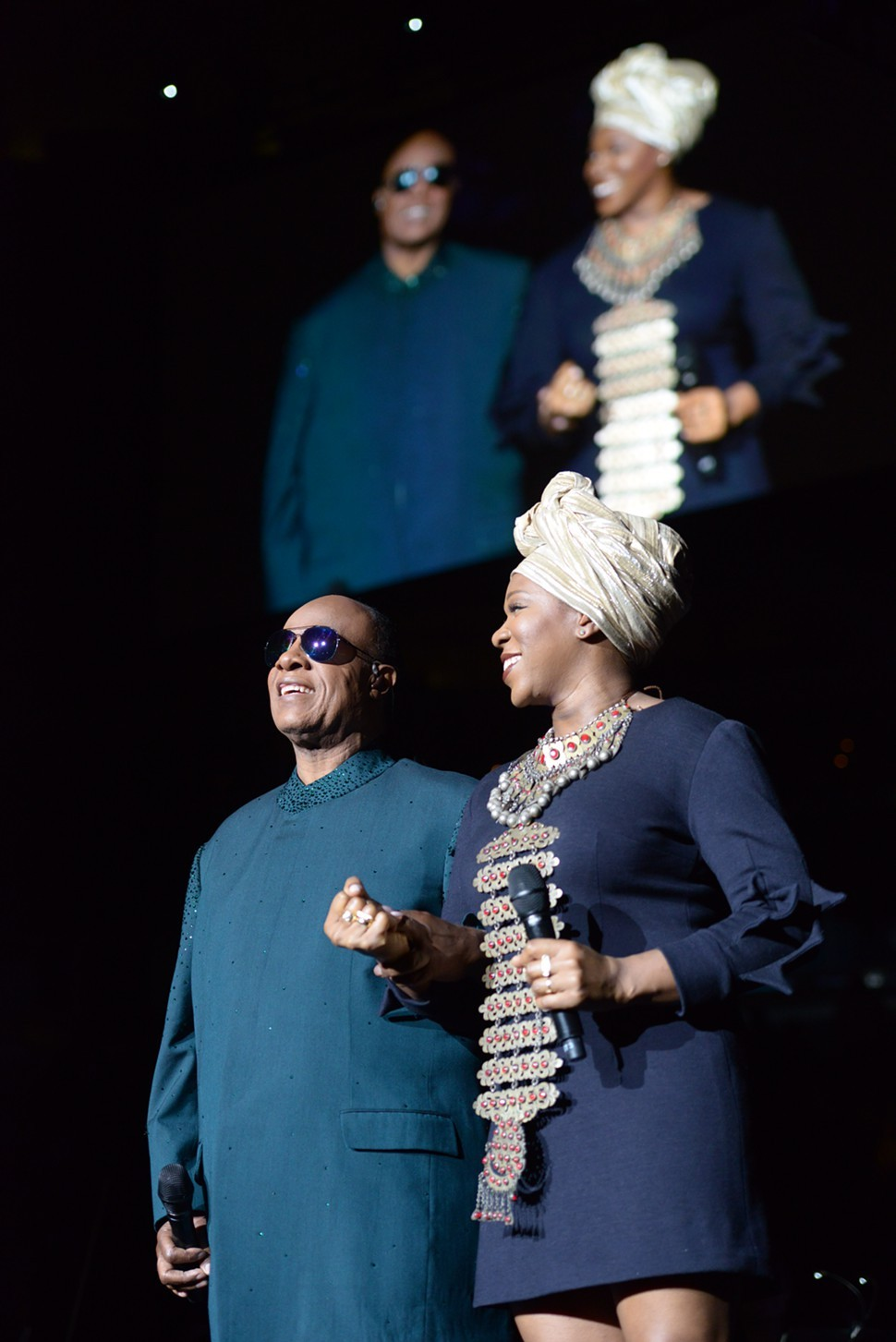 Wonder with guest vocalist India Arie, who never came out onstage in the same outfit twice