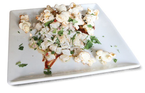 Zoe Schors geoduck popcorn, created for her Key Ingredient challenge
