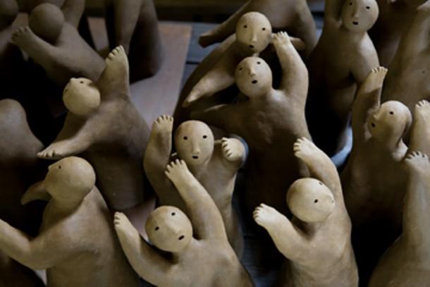 108 Dancing Ladies (detail), clay, unfired work in progress