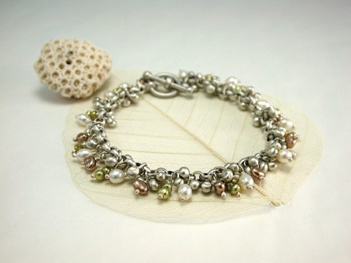 A bracelet of silver and freshwater pearls by Toronto-based Dushka, available at Hummingbird Jewelers in Rhinebeck.