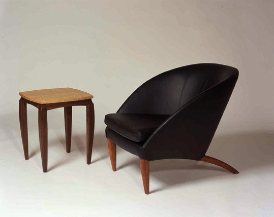A chair and table by Michael Puryear