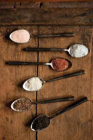 A collection of salts from The Butcher's Guide to Well-Raised Meat.