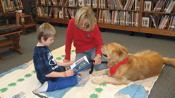 A dog-and-trainer team with the Hudson Valley Visiting Pet Program. Many of the teams are also registered Reading Education Assistance Dogs, who help children gain confidence with their reading skills.
