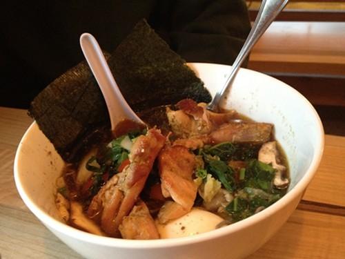A hearty noodle soup creation