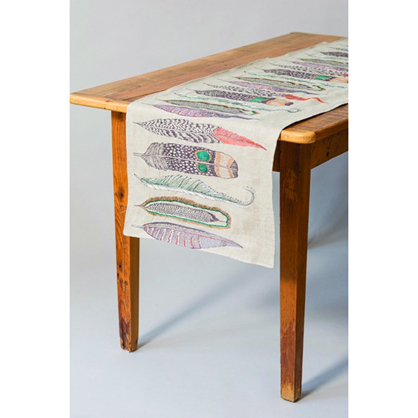 A linen table runner by Coral & Tusk from Paper Trail in Rhinebeck.