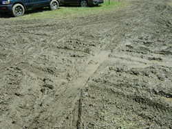 A muddy intersection... we must have crossed this dozens of times. - RACHEL CAREY