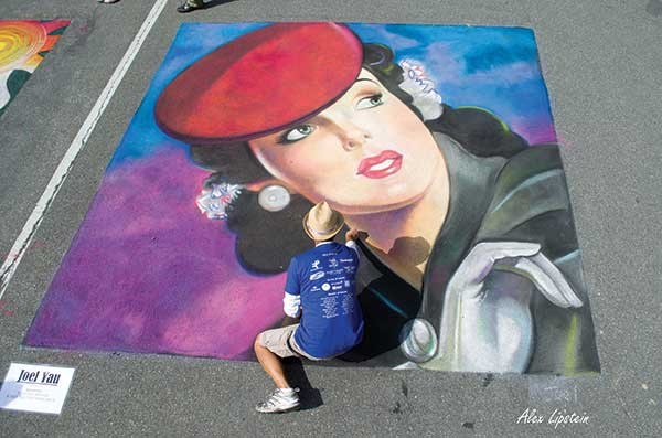 A piece by Joel Yau at the Hudson Valley Chalk Festival in New Paltz on July 12.